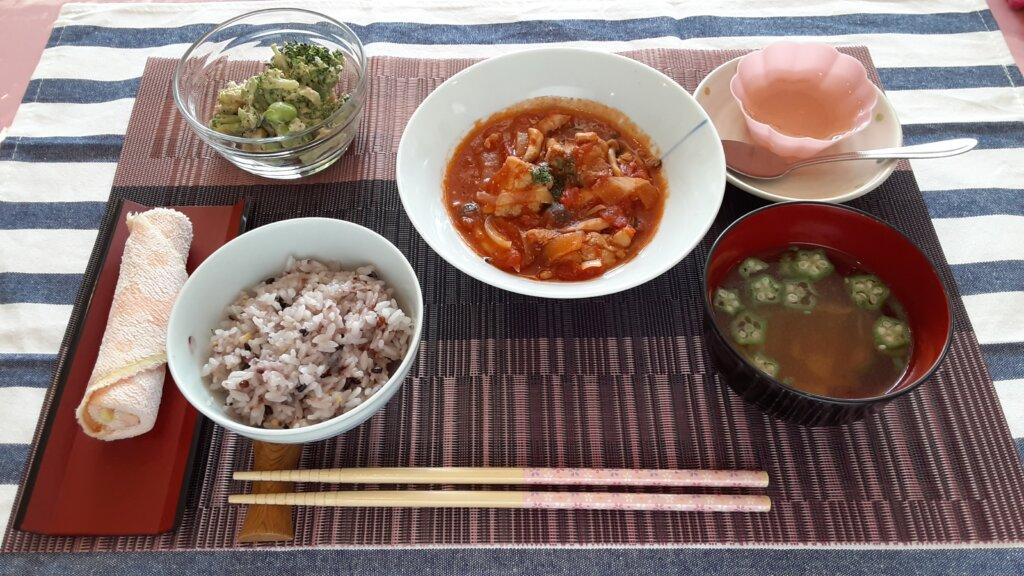 鹿児島 デイサービス スター倶楽部 昼食 鶏のトマト煮定食