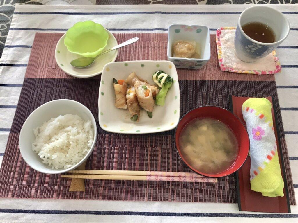鹿児島 デイサービス スター倶楽部 昼食 野菜の肉巻き定食