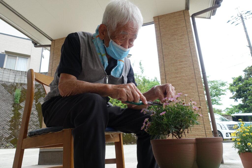 鹿児島 デイサービス スター倶楽部よしのの 花植え 手入れ