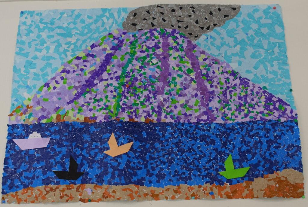鹿児島 デイサービス スター倶楽部よしの 壁画 桜島