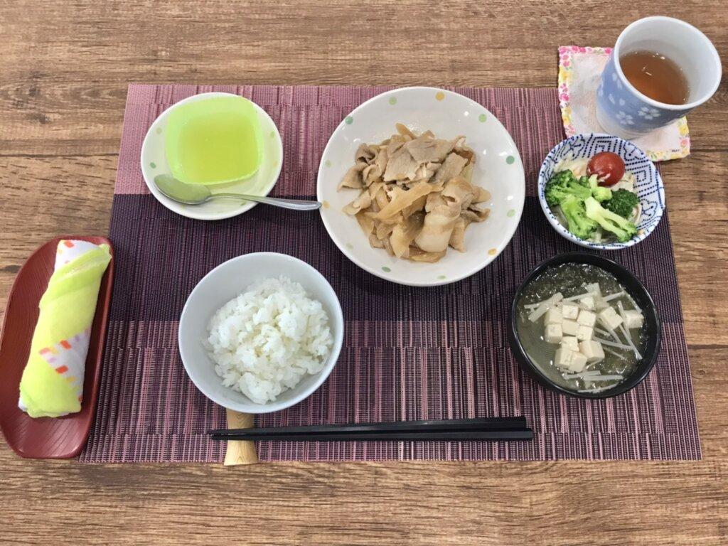 鹿児島 デイサービス 地域密着型通所介護事業 スター倶楽部 ランチ 生姜焼き定食1